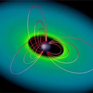 Rappresentazione artistica delll'influenza del campo magnetico protostellare sulla nube progenitrice.